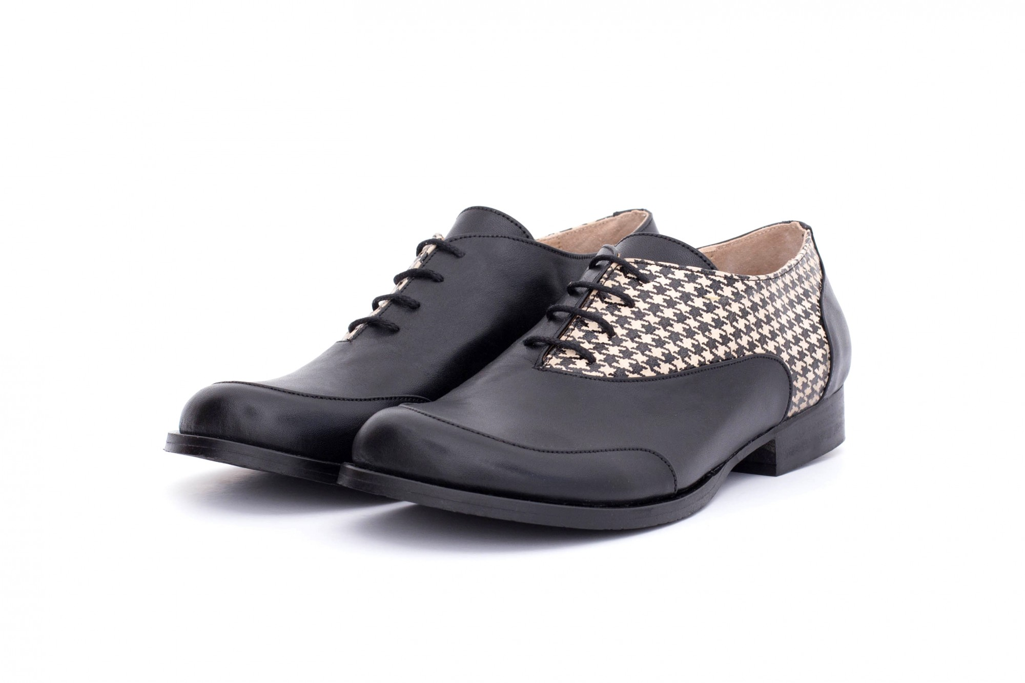 0ddd68a8f80e64 Black women s shoes Houndstooth. Women s leather shoes black flat ...
