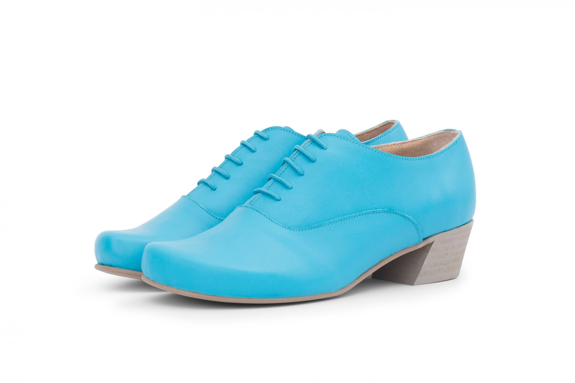 225e047e62a Light blue women's shoes. Handmade women's lace up shoes in light blue  leather ...