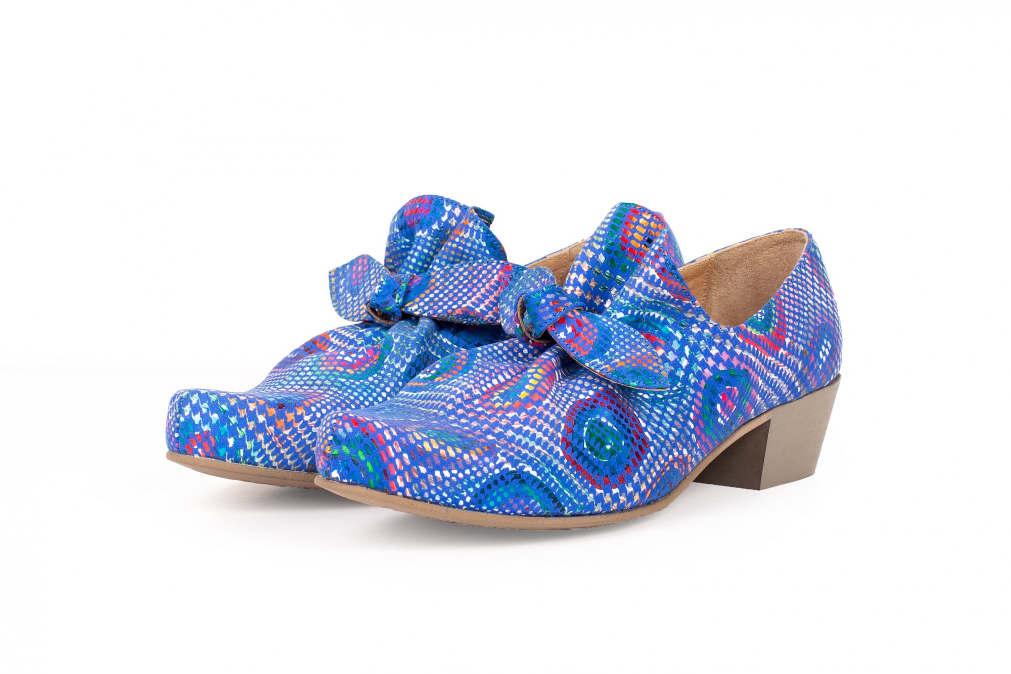 48136423139 Low heel bow shoes blue