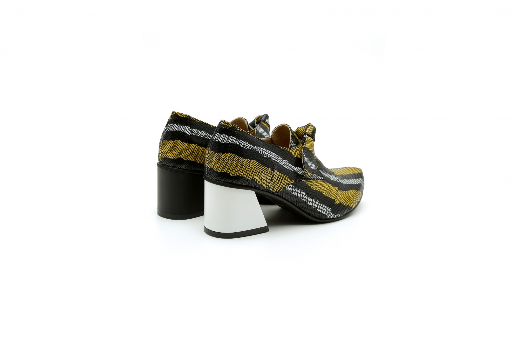 Block heel funky shoes black and yellow