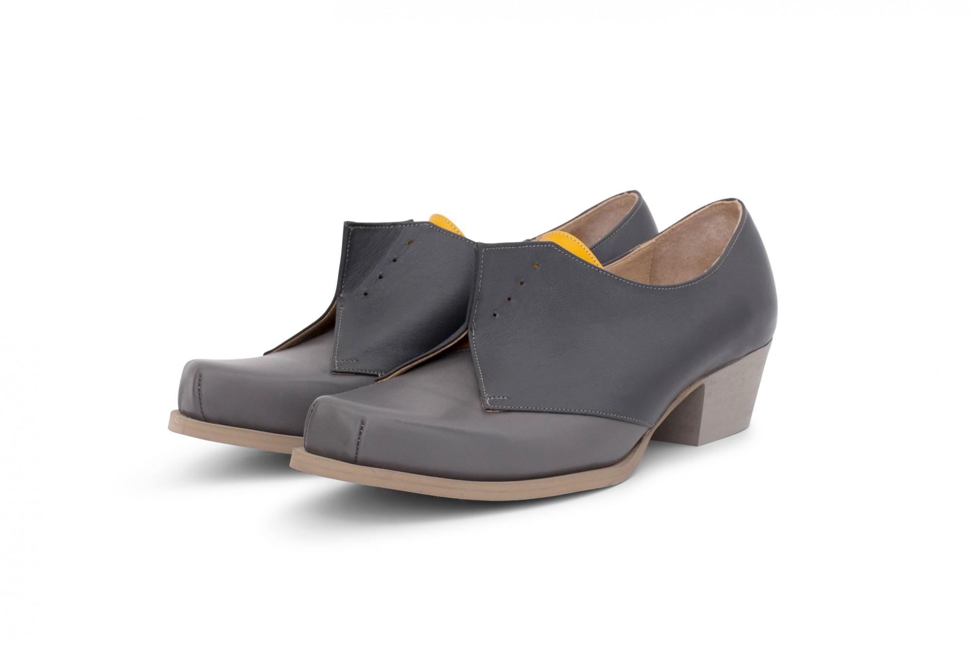cb09c7111ff Gray Edgy shoes heeled. Geometric designed women's heel shoes in gray  leather