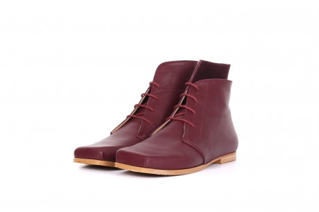 Wide Flat Boots , Purple Leather Booties shoes , lace up
