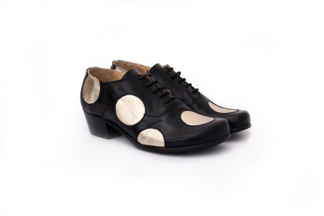 Women's Shoes , black and gold Leather wide polka dots shoes