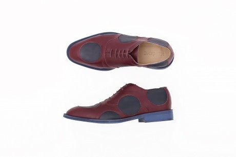 Purple and blue dots Men's Leather shoes