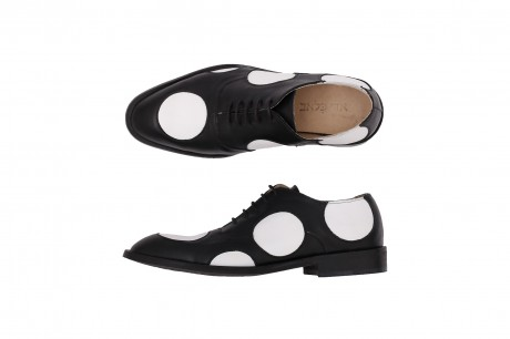 Black and white dots Men's Leather shoes