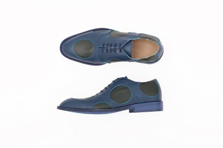Green and blue dots Men's Leather shoes