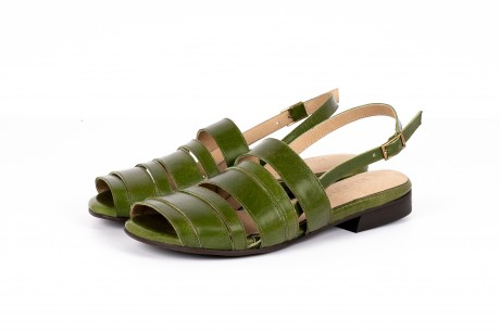 Flat Green leather sandals