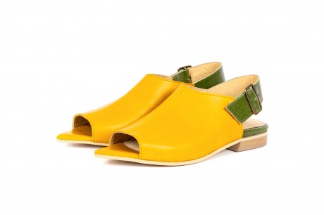 Yellow peep toe slingback sandals