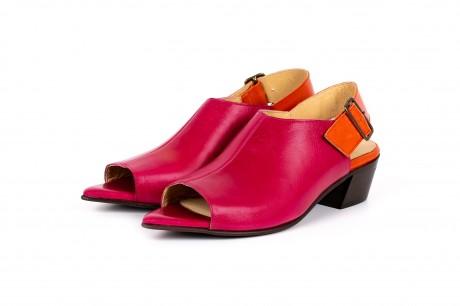 Low heel peep toe pink