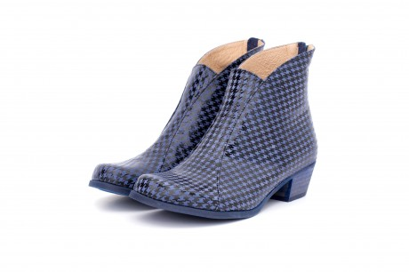 Blue Houndstooth Ankle boots