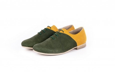 Yellow and green flat shoes