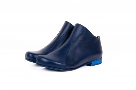Flat blue ankle boots
