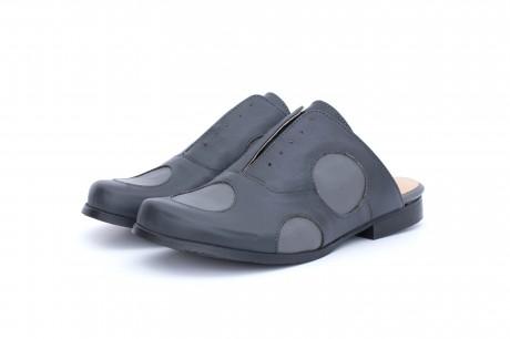 Flat gray mules shoes