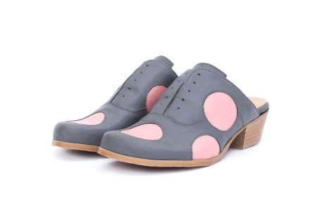 Women's Mules slides gray and pink polka dots