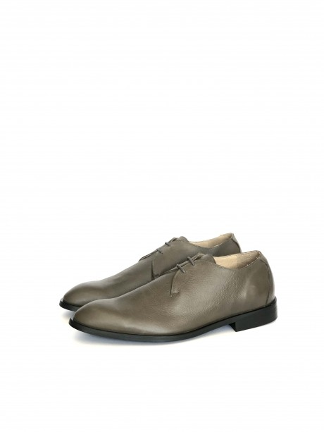 Gray leather men's shoes