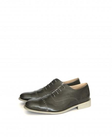 נעלי אוקספורד מעור אפור לגברים