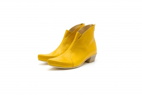 Yellow pointy ankle boots