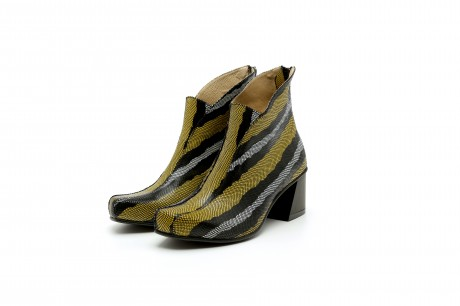 Funky ankle boots block heel yellow and black