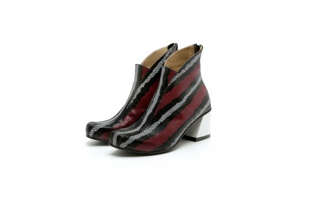 Block heel leather boots in red black and white snake texture
