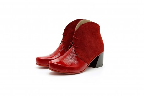 Red ankle boots block heel