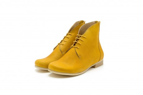 Flat yellow booties shoes