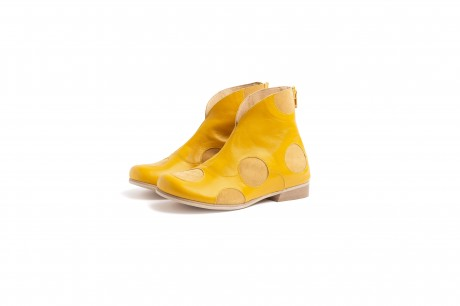 Yellow women's booties shoes