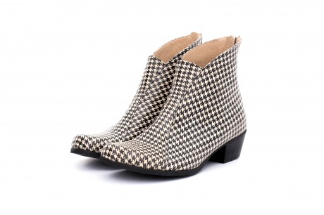 Black Houndstooth Ankle boots