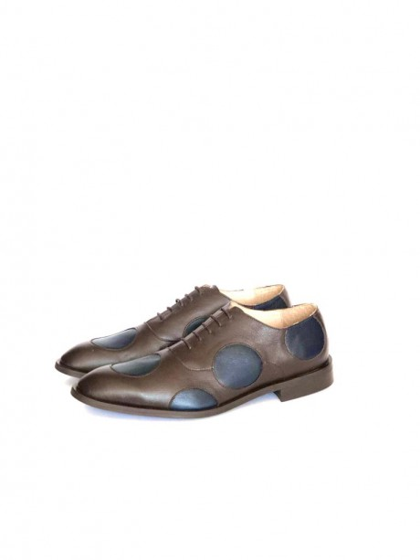 brown and blue dots Men's Leather shoes