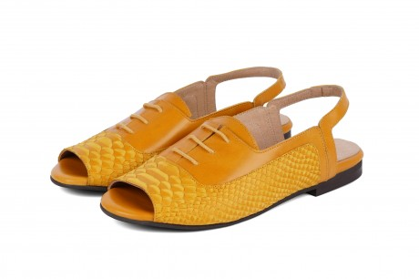 Yellow peep toe slingback