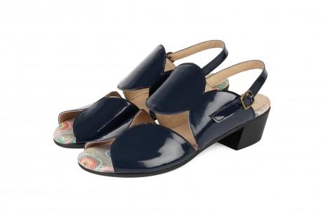 Blue low heel sandals