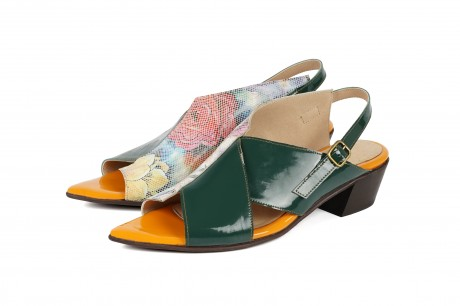 green and ploral pointy sandal