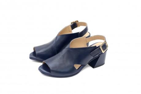 Block heel sandals navy blue