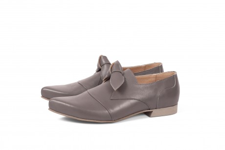 Leather flats in grey by ADIKILAV