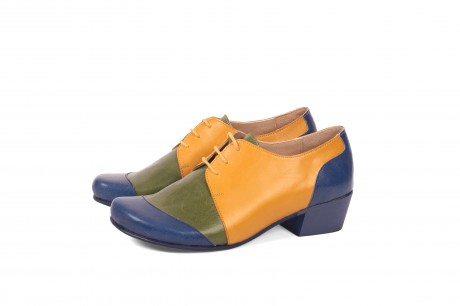 Low heel colorful leather shoes for women