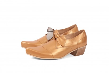 Metal leather shoes for women