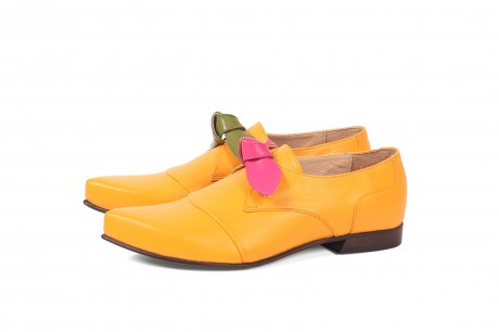 Yellow leather womens shoes