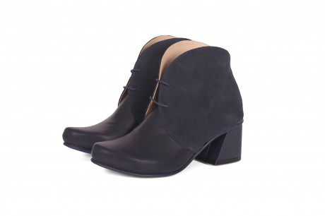 High heel ankle boots in blue leather